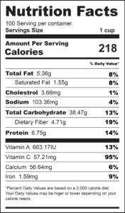 Broccoli and Corn Casserole Nutrition Label