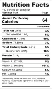 Cajun Pepper Cabbage Nutrition Label-01
