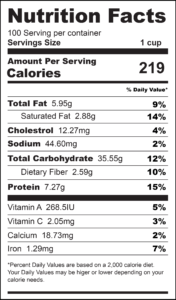 Mushroom Rice Nutrition Label-01