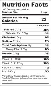 Red Pepper Salsa Nutrition Label