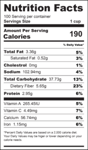 Roasted Sweet Potatoes Nutrition Label-01