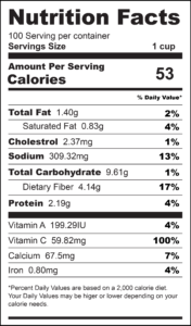 Sauteed Cabbage Nutrition Label-01