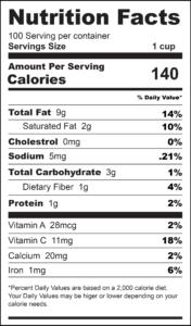 Tomato _ Cucumber Salad Nutrition Label