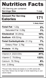 Tuna Stuffed Bell Peppers Nutrition Label