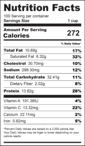 Zucchini Cheesy Rice Nutrition Label-01